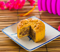 Mooncake for Chinese mid autumn festival foods. The Chinese word